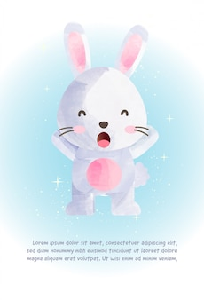 Cute bunny for greeting card  in watercolor