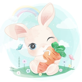 Cute bunny hanging the carrot juice