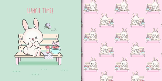 Cute bunny having lunch and seamless pattern