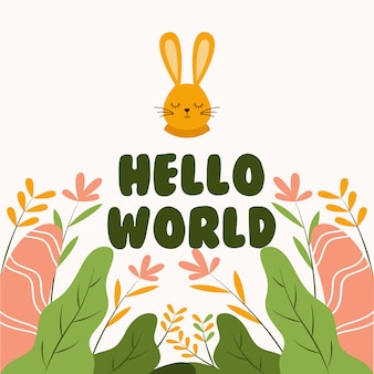 Cute bunny head saying hello world flat vector illustration