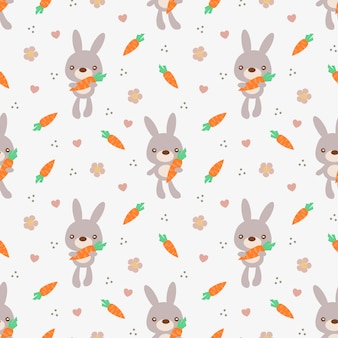 Cute bunny hold carrot seamless pattern.