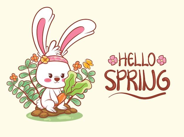 Милый кролик держит морковь с цветком весны. иллюстрация персонажа из мультфильма привет весенняя концепция.
