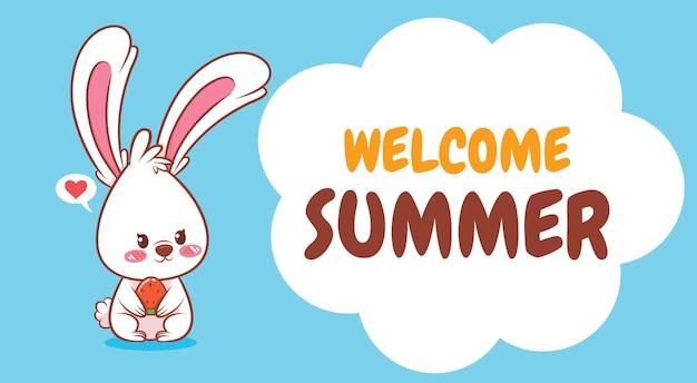여름 인사말 배너와 함께 수박을 들고 귀여운 토끼
