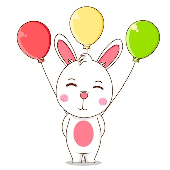 Милый кролик держит воздушный шар