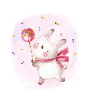 Милый кролик держит большую конфету на палочке