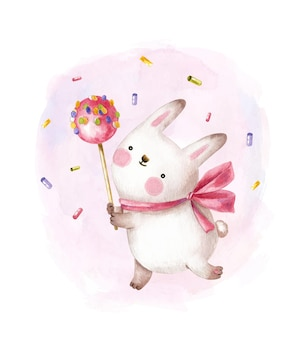 Cute bunny holding big candy on a stick