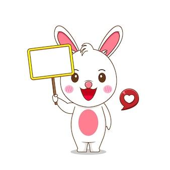Милый кролик держит пустую доску