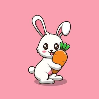 당근 만화 일러스트를 들고 귀여운 토끼