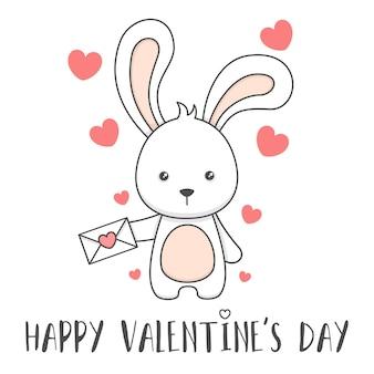 연애 편지를 들고 귀여운 토끼 발렌타인 데이