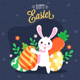 Cute bunny holding shiny colorful egg on dark grey background. happy easter concept.
