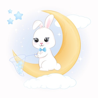 Cute bunny holding stars in net on the moon