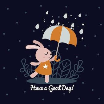 Милый кролик держит зонтик и танцует под дождем, персонаж мультфильма в скандинавском стиле