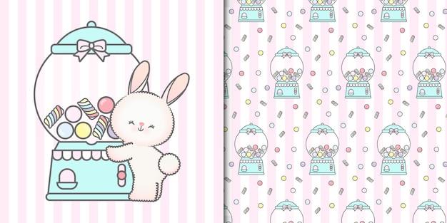 Милый кролик обнимает конфетную машину и бесшовный фон