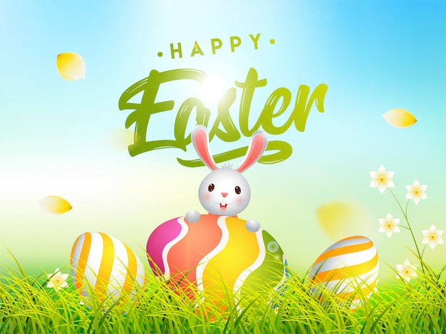 Cute bunny illustration with colorful easter eggs hidden in gras