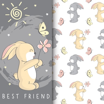 Cute bunny illustration with kids seamless pattern