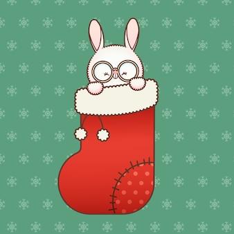 Милый зайчик в новогоднем носке