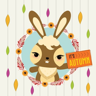 Симпатичный кролик в осеннем венке