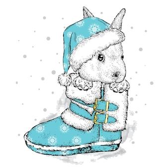 クリスマスの冬とお正月の服のかわいいウサギ