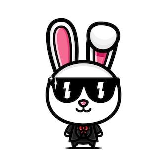 멋진 스타일의 의상을 입은 귀여운 토끼