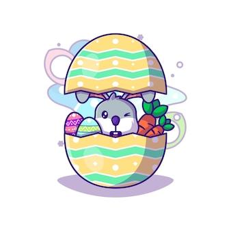 Милый кролик в яйце с морковью на пасху вектор значок иллюстрации