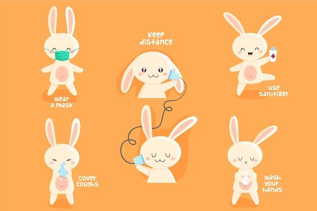 コロナウイルスの時代のかわいいウサギ
