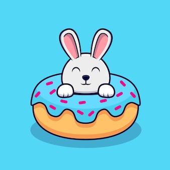 ドーナツの中のかわいいウサギ