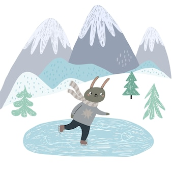 A cute bunny is ice skating. scandinavian style