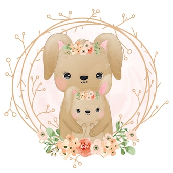 Cute bunny motherhood illustration, watercolor illustration.