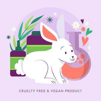 비건 제품 옆에있는 귀여운 토끼