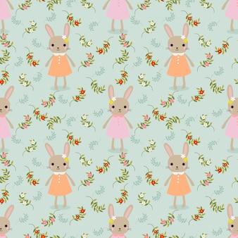 귀여운 토끼와 꽃 원활한 패턴