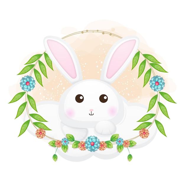 花の漫画イラストと雲の上のかわいいウサギ。