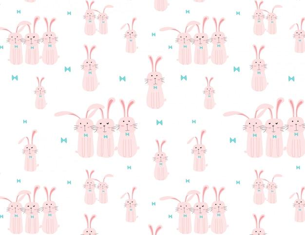 かわいいバニーパターン背景、子供のためのイースターのパターン、ベクトル図。 Premiumベクター