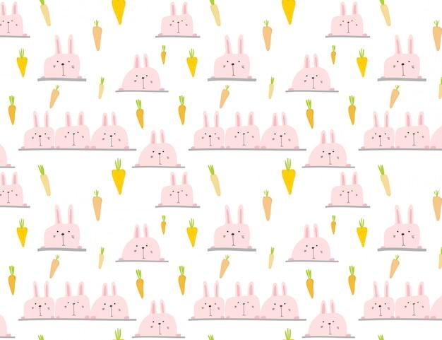 Cute bunny pattern background, easter pattern for kids, vetor illustration.
