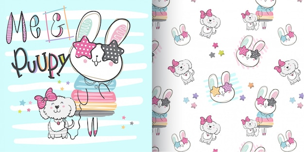 Cute bunny pattern set, hand draw illustration-vector