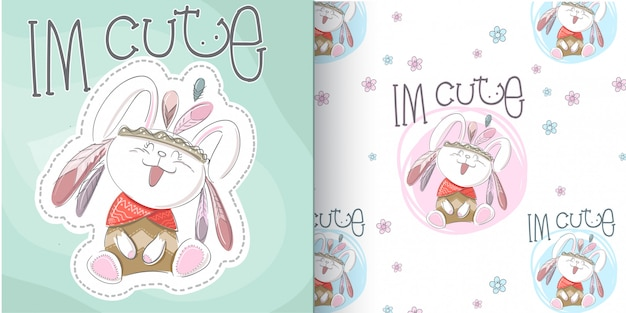 Cute bunny pattern set, hand draw illustration-vector
