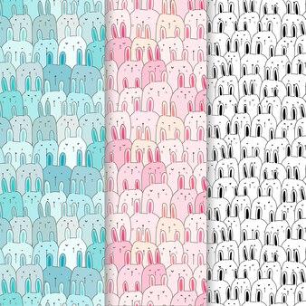 Cute bunny pattern set.