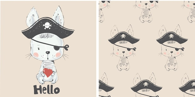 Cute bunny pirate and seamless pattern hand drawn vector illustration