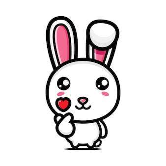 귀여운 토끼 포즈 손가락 사랑
