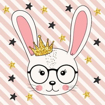 Cute bunny  princess girl with crown