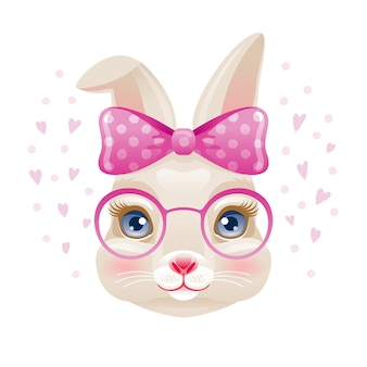 Cute bunny. rabbit girl face in pink glasses and bow.  cartoon animal.