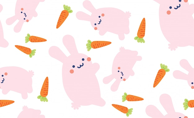 Cute bunny rabbit hare seamless pattern background