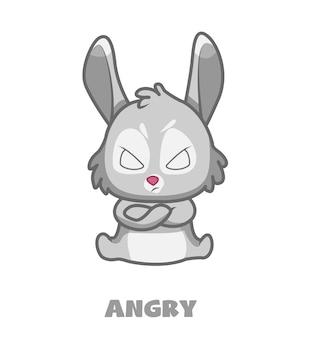 かわいいウサギのマスコット漫画のキャラクター怒っている