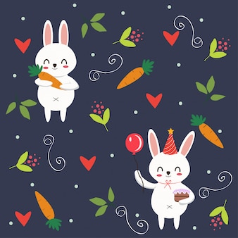 Cute bunny rabbit pattern