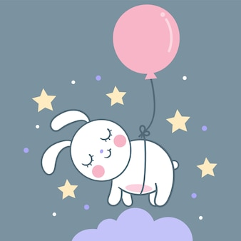 Cute bunny rabbit vector sleeping on sky