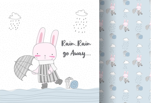 Cute bunny in the rain seamless pattern