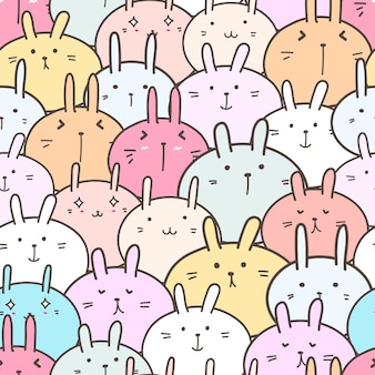 Cute bunny seamless pattern background