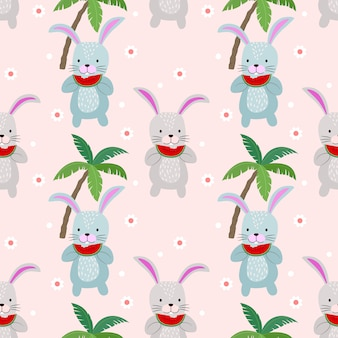 Cute bunny seamless pattern with watermelon. summer time