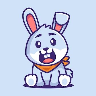 かわいいウサギ座る漫画のキャラクター