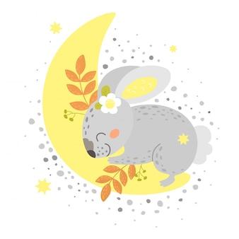 Cute bunny sleeps on the moon. print in cartoon style.