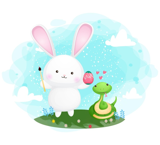 Cute bunny and snake easter day celebration cartoon character